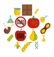gmo icons set in flat style vector image vector image