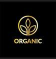 gold leaf business logo vector image vector image