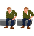 Happy cartoon man sitting on gray bench vector image vector image