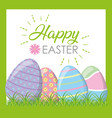 happy easter eggs on grass vector image vector image