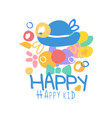 happy happy kid logo template colorful hand drawn vector image vector image