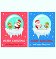 happy new year merry xmas postcard santa and elf vector image vector image
