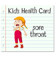 Health card with girl having sorethroat vector image vector image