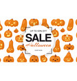 holiday halloween sale with pumpkins heads pattern vector image