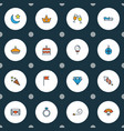 holiday icons colored line set with fan petard vector image vector image