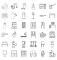 house decor icons set outline style vector image vector image