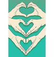 Human hands with heart sign set vector image vector image
