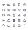 icons for web in line style isolated on white vector image vector image
