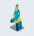 isometry of a stewardess girl on the vector image vector image