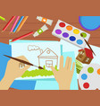 kids drawing lesson work process top view art vector image vector image