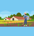 male gardener using hoe countryman hoeing ground vector image