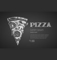 pizza slice chalk drawing vector image vector image