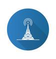 radio tower flat design long shadow glyph icon vector image