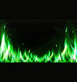 realistic green fire border burning flame clipart vector image vector image