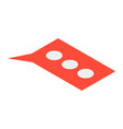 red chat bubble icon isometric style vector image