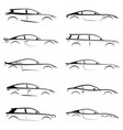 set of black silhouettes concept cars on white vector image vector image