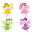 set of isolated color fairies vector image