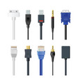 set of socket cable plug vector image vector image