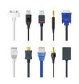 set socket cable plug and vector image
