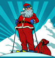 skier in mountains santa claus character merry vector image vector image