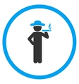 Smoking Boy Rounded Icon vector image vector image