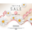spring sale banner with realistic daisy vector image vector image