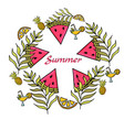 summer set with hand drawn elements and watermelon vector image