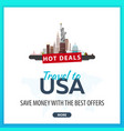 travel to usa travel template banners for social vector image