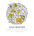 tropical wild beach - icon hand draw concept in vector image vector image