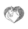 unicorn and maiden heart drawing vector image