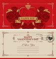 vintage valentine card with red heart and roses vector image