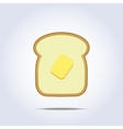 White bread toast icon with butter vector image