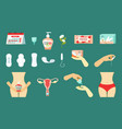 womens critical menstrual days set hygiene gel vector image
