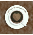 Cup of coffee with heart shape image on colorful vector image