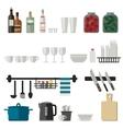 Kitchenware flat icons vector image