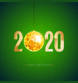 2020 happy new year gold greeting card vector image