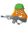 army hard shell character cartoon vector image vector image