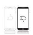 black and white set phones with symbols thumb up vector image