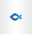 blue icon fish logo vector image vector image
