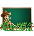 boy scout on blackboard banner vector image vector image