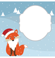 Christmas Fox Card vector image