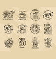 coffee logos modern vintage elements for shop vector image vector image
