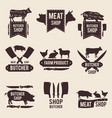 design monochrome labels set for butcher shop vector image vector image