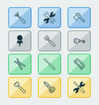 equipment icons set with scissors trowel vector image