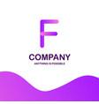 f company logo design with purple theme vector image vector image