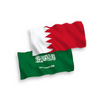 flags saudi arabia and bahrain on a white
