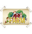 flashcard for word farm with farmer and animals vector image vector image