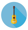 Flat Acoustic String Guitar Circle Icon with Long vector image vector image