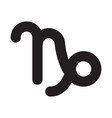 flat black capricorn sign icon vector image vector image