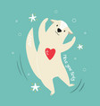 funny a cheerful otter and text vector image